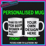 LOVE  BEER WOMEN & RUGBY FAN ADDICT PLAYER MUG PERSONALISED DESIGN